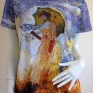 Monet WOMAN with PARASOL Art Print Cap Sleeve T-shirt Misses M Medium
