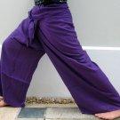 Thai PLUS SIZE XXL Rayon Fisherman Yoga Pants PURPLE