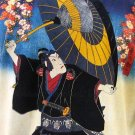 KABUKI T-Shirt Japanese Ukiyoe Art Print Short Sleeve Men's XL