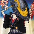 KABUKI T-Shirt Japanese Ukiyoe Art Print Short Sleeve Men's XL