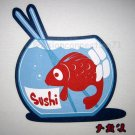 FISHY SUSHI CISSE Disco Party Rave T-shirt Slim Fit Asian M Medium White
