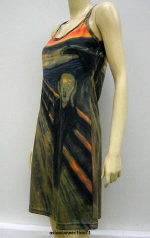 THE SCREAM Edvard Munch Dress Hand Print Fine Art Misses M Medium Size 8-10