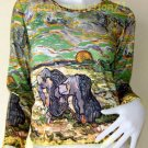 VAN GOGH Long Sleeve TWO PEASANT WOMEN IN FIELD WITH SNOW Art Print T Shirt Misses Size S Small