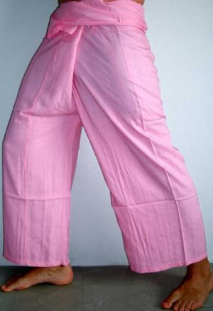 Thai Fisherman Pants Casual Asian Yoga Trousers FREESIZE Rayon Pale ROSE PINK Beach Dance Maternity