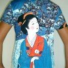 WINTER SNOW GEISHA Japan Cap Sleeve Art Print T Shirt Misses S Small