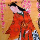 RED KIMONO SAKURA Japan Ukiyoe Art Print Shirt Long Sleeve M