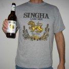 Thai SINGHA Lager BEER Cotton T-shirt M Medium Gray Thailand