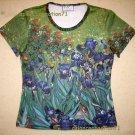 Van Gogh IRISES Hand Print Art T Shirt Misses Size XL Cap Sleeve