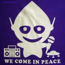 WE COME IN PEACE New Alien DJ CISSE Disco Party T-Shirt Slim Fit Asian L Large Purple BNWT