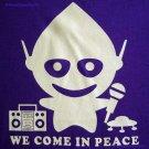 WE COME IN PEACE New Alien DJ CISSE Disco Party T-Shirt Slim Fit Asian L Large Purple BNWT