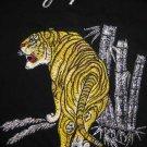 BAMBOO TIGER New Embroidered Japan T-shirt Slim L Black