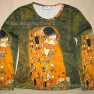THE KISS Gustav Klimt Long Sleeve Fine Art Print T Shirt Misses L Large