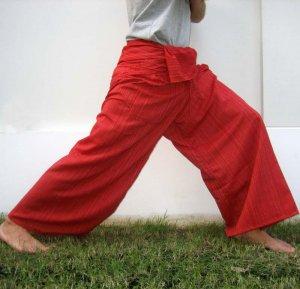Thai XXXL Plus Size Cotton Drill Fisherman Yoga Pants RED Stripe 3XL