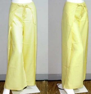 Thai FREESIZE Rayon Wrap Yoga Pants PALE YELLOW Asian Dance Beach Party Trousers