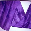 Thai Pure Silk Fabric Scarf New Hand Craft DEEP PURPLE