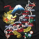 MAP of JAPAN Cool New EMBROIDERED T-shirt Asian L Black