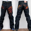 Japan AUTUMN LEAVES Embroidered Selvedge Jeans 30 x 32