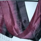 Thai PURPLE BURGUNDY and INDIGO BLACK Silk Fabric Scarf