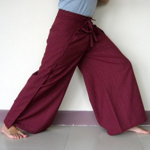 Heavy Cotton New Thai BURGUNDY Wrap Yoga Pants FREESIZE