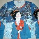 WINTER GEISHA New LONG SLEEVE Japan Art Print T Shirt Misses M