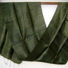 Thai Handwoven Pure Silk Fabric Scarf Dark FOREST GREEN