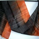 Thai Silk Fabric Scarf Hand Crafted AMBER & BLACK New!