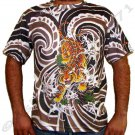 Japanese TIGER IREZUMI Japan Tattoo Art Print Short Sleeve T Shirt Mens XL