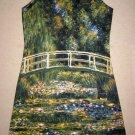 Monet WATER LILY POND Hand Print Fine Art Dress Size XL 16-18