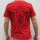 PRAPROM Thai Hindu Brahma God Sak Yant Magic Tattoo T-Shirt M Black on Red