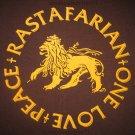 RASTAFARIAN Peace One Love New Roots REGGAE Dub Irie T-shirt XL Brown