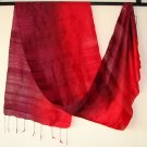 Thai Silk Fabric Scarf Hand Craft Variegated BURGUNDY and RED Siam Textile