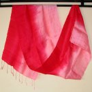 Thai Silk Fabric Scarf Shawl New Half and Half RED and PINK Colors