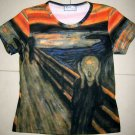 THE SCREAM Edvard Munch Cap Sleeve Fine Art Print T Shirt Misses S Small