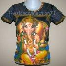 LORD GANESH Hindu God Fine Art Hand Print Ganapati T Shirt Misses Size L Large