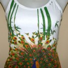 PEACOCK In Bamboo Asian Art Print Shirt TANK TOP Singlet Misses Size L Large