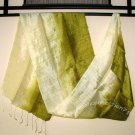 Thai Silk Fabric Scarf Hand Crafted OLIVE and CREAM