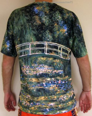 Monet WATER LILY POND Hand Print Fine Art T Shirt Mens M Medium Short Sleeve