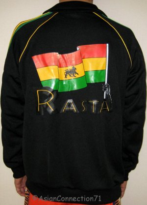 RASTA FLAG Lion of Judah New Roots Retro REGGAE Irie Dub Track Jacket Size S Small