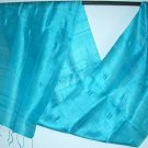Thai Silk Fabric Scarf BRIGHT TURQUOISE BLUE Thailand Siam Textile Fabric
