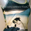 FISHERMAN Ukiyoe Japan Art Print TANK TOP Shirt Misses L Large