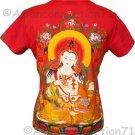 GUANIM Buddhist Goddess of Mercy Cap Sleeve Hindu Art Print T Shirt Misses M Medium