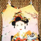 Japanese Ukiyoe Art Print Shirt Singlet TANK TOP GEISHA with SENSU Misses Size S Small