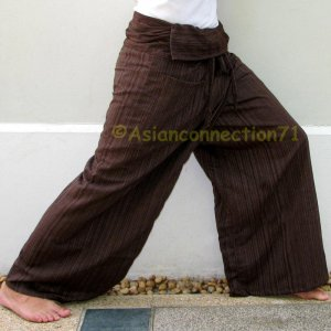 PLUS SIZE Thai XXXL Cotton Drill Fisherman Yoga Pants BROWN Stripe
