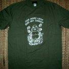 GOOD LUCK BUDDHA Rub My Tummy Fun New T-Shirt L Green