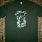 GOOD LUCK BUDDHA Rub My Tummy Fun New T-Shirt M Green
