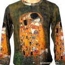 THE KISS Gustav Klimt Long Sleeve Fine Art Print T Shirt MENS L Large