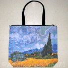Wheat Fields with Cypresses VAN GOGH Hand Printed Art Bag Purse Messenger Tote L