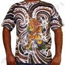Japanese TIGER IREZUMI Japan Tattoo Art Print Short Sleeve T Shirt Mens L Large