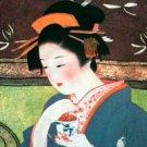 GEISHA with TEA LONG SLEEVE Japan Ukiyoe Art Print T Shirt Misses XL