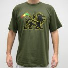 CONQUERING LION of JUDAH Rasta REGGAE T-shirt M Green